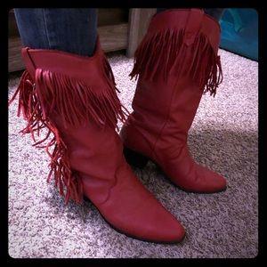 Red fringe boots